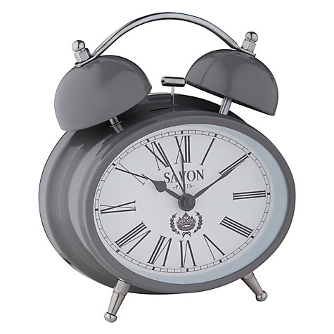 Buy London Clock Oval Twin Bell Alarm, Grey Online at johnlewis.com