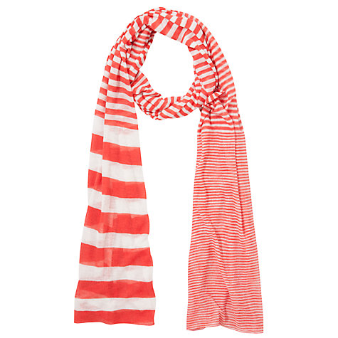 Buy Collection WEEKEND by John Lewis Knitted Stripe Scarf, Coral Online at johnlewis.com