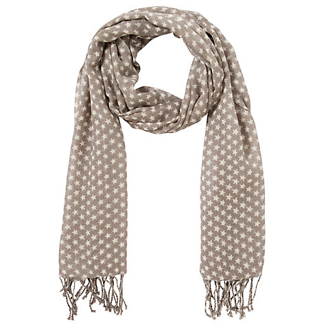 Buy Collection WEEKEND by John Lewis Star Print Scarf, Grey Online at johnlewis.com
