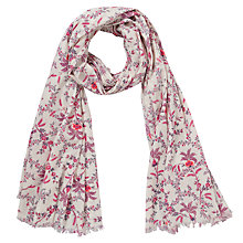 Buy John Lewis Alice Crinkle Floral Cotton Scarf, Pink Online at johnlewis.com