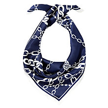 Buy John Lewis Chain Print Silk Square, Navy Online at johnlewis.com