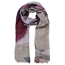 Buy COLLECTION by John Lewis Peony Wool Scarf, Grey/Pink Online at johnlewis.com