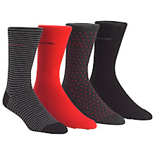 Buy Calvin Klein Cotton Rich Socks, Pack of 4, One Size, Red/Black/Grey Online at johnlewis.com