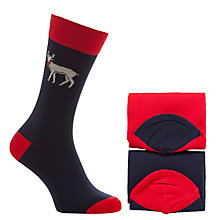 Buy John Lewis Novelty Reindeer Socks, Pack of 2, One Size, Navy Online at johnlewis.com