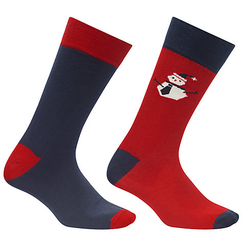 Buy John Lewis Novelty Snowman Socks, Pack Of 2, Red Online at johnlewis.com