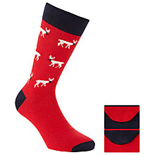 Buy John Lewis Novelty Reindeer Socks, Pack Of 2, Red Online at johnlewis.com