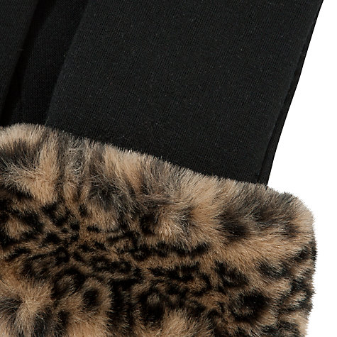 Buy John Lewis Leopard Print Faux Fur Cuffed Gloves, Black/Animal Print Online at johnlewis.com