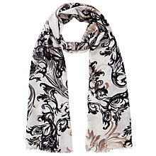 Buy Lola Rose Ornamental Bird Print Scarf, Grey Online at johnlewis.com