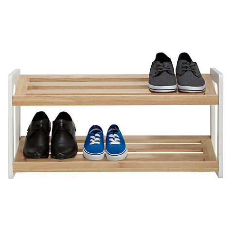 Buy House by John Lewis 2 Tier Shoe Rack, Wood / White Online at johnlewis.com