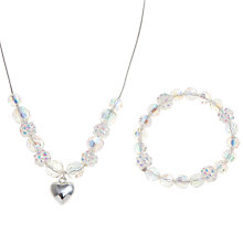 Buy John Lewis Girl Fireball Beaded Necklace and Bracelet Set, Silver Online at johnlewis.com