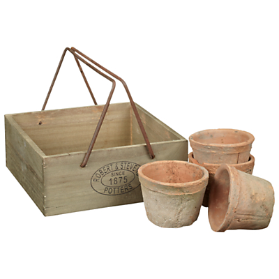 Wooden Handle Crate with 4 Pots