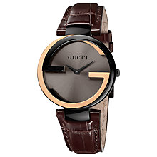 Buy Gucci YA133304 Men's Interlocking G 18ct Gold Alligator Strap Watch, Black / Gold Online at johnlewis.com
