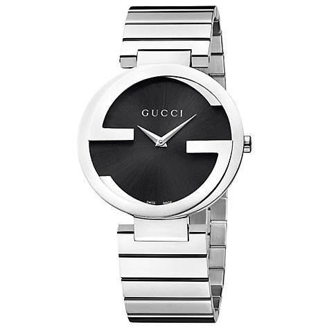 Buy Gucci YA133307 Men's Interlocking G Bracelet Strap Watch, Silver / Black Online at johnlewis.com