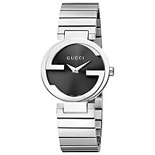 Buy Gucci YA133502 Women's Interlocking G Bracelet Strap Watch, Silver / Black Online at johnlewis.com