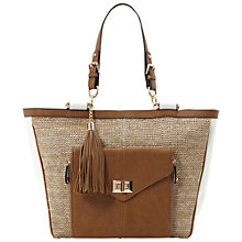 Buy Dune Daffia Raffia Bar Top Shopper Bag, Neutral/Brown Online at johnlewis.com
