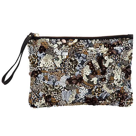 Buy COLLECTION by John Lewis Wow Abstract Embroidery Pouch Clutch Handbag, Metallic Online at johnlewis.com