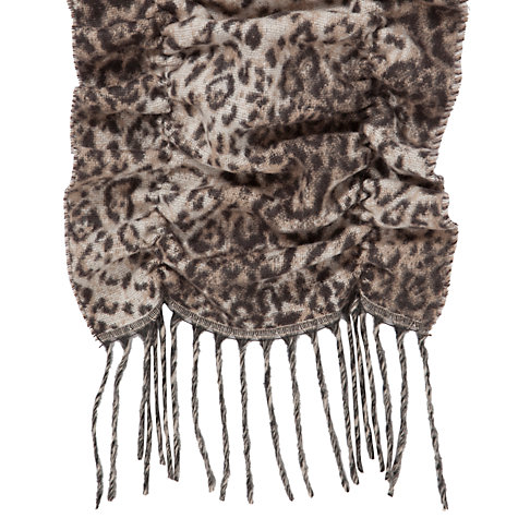 Buy John Lewis Cashmink® Ruffled Bouncy Animal Print Scarf, Brown Online at johnlewis.com