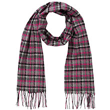 Buy John Lewis Cashmink® Herringbone Checked Scarf, Magenta/Grey Online at johnlewis.com