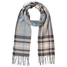 Buy John Lewis Cashmink Check Scarf, Grey Online at johnlewis.com
