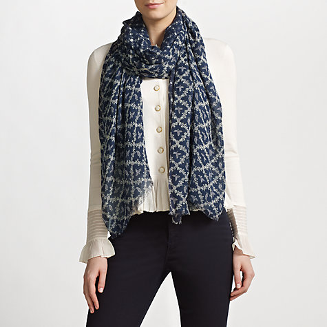 Buy Somerset by Alice Temperley Manor Print Scarf, Blue Online at johnlewis.com