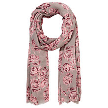 Buy John Lewis Rose Drawing Scarf, Grey/Pink Online at johnlewis.com