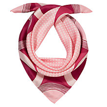 Buy John Lewis Semi Circle Silk Square Scarf, Pink Online at johnlewis.com