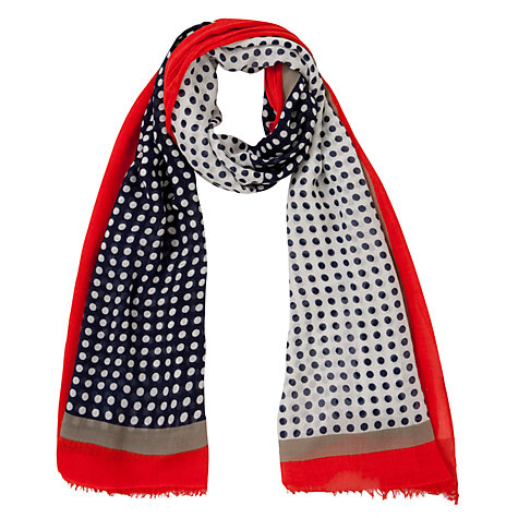 Buy John Lewis Two Sided Spot Print Scarf, Navy Online at johnlewis.com