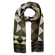 Buy John Lewis Diamond Graphique Print Scarf, Green Online at johnlewis.com