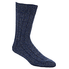 Buy JOHN LEWIS & Co. Merino Wool Ribbed Boot Socks, Navy, One Size Online at johnlewis.com