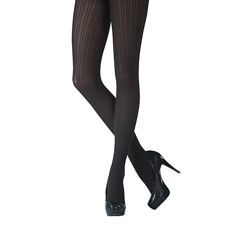 Buy Pretty Polly Chevron Cable Opaque Tights, Black Online at johnlewis.com