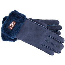 Buy UGG Classic Turn Over Cuff Suede Gloves, Navy Online at johnlewis.com