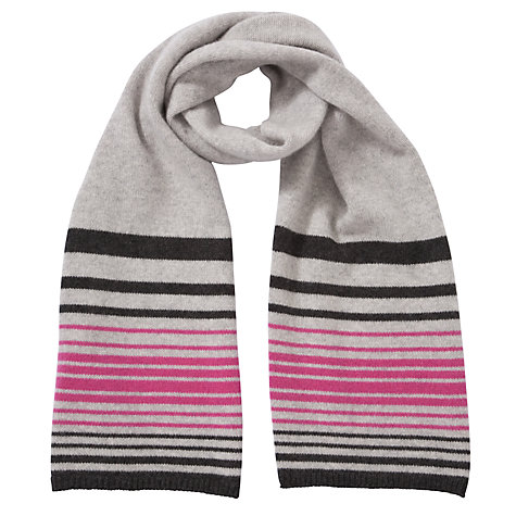 Buy John Lewis Cashmere Stripe Scarf, Grey Online at johnlewis.com