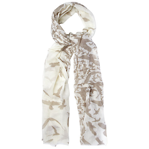 Buy White Stuff Large Bird Print Scarf, Rock Online at johnlewis.com