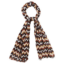 Buy CC Zig Zag Scarf, Orange/Ivory/Chocolate Online at johnlewis.com