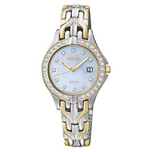 Buy Seiko SUT084P9 Women's Two-Tone Mother of Pearl Crystal Bezel Watch, Silver / Gold Online at johnlewis.com