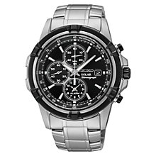 Buy Seiko SSC147P1 Men's Solar Chronograph Stainless Steel Bracelet Strap Watch, Silver/Black Online at johnlewis.com