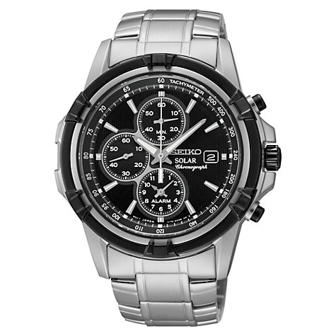 Buy Seiko SSC147P1 Men's Stainless Steel Solar Chronograph Watch, Silver / Black Online at johnlewis.com