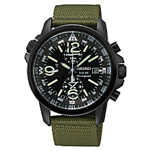 Buy Seiko SSC137P1 Men's Solar Alarm Chronograph Canvas Strap Watch, Green / Black Online at johnlewis.com