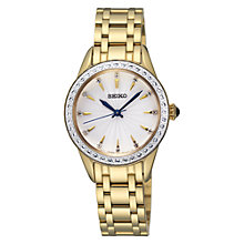 Buy Seiko SRZ386P1 Women's Crystal Dial Bracelet Strap Watch, Gold Online at johnlewis.com