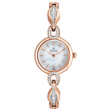 Buy Bulova 98L164 Mother of Pearl Diamante Strap Watch, Rose Gold Online at johnlewis.com