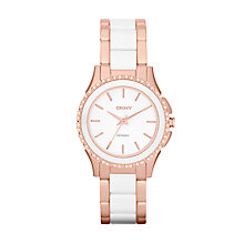 Buy DKNY NY8821 Women's Two Tone Steel and Ceramic Watch, White / Rose Gold Online at johnlewis.com