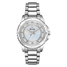 Buy Bulova 96P144 Women's Mother of Pearl Diamond Automatic Watch, Silver Online at johnlewis.com