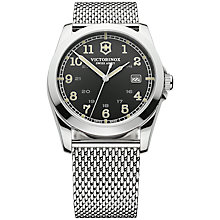 Buy Victorinox 241585 Men's Infantry Mesh Strap Watch, Black Online at johnlewis.com