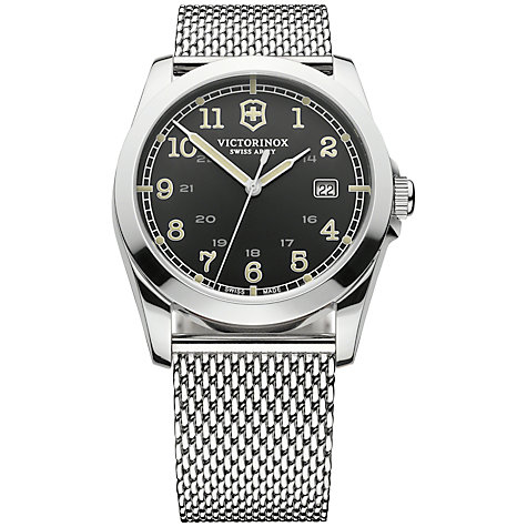 Buy Victorinox 241585 Men's Infantry Stainless Steel Mesh Bracelet Strap Watch, Silver/Black Online at johnlewis.com