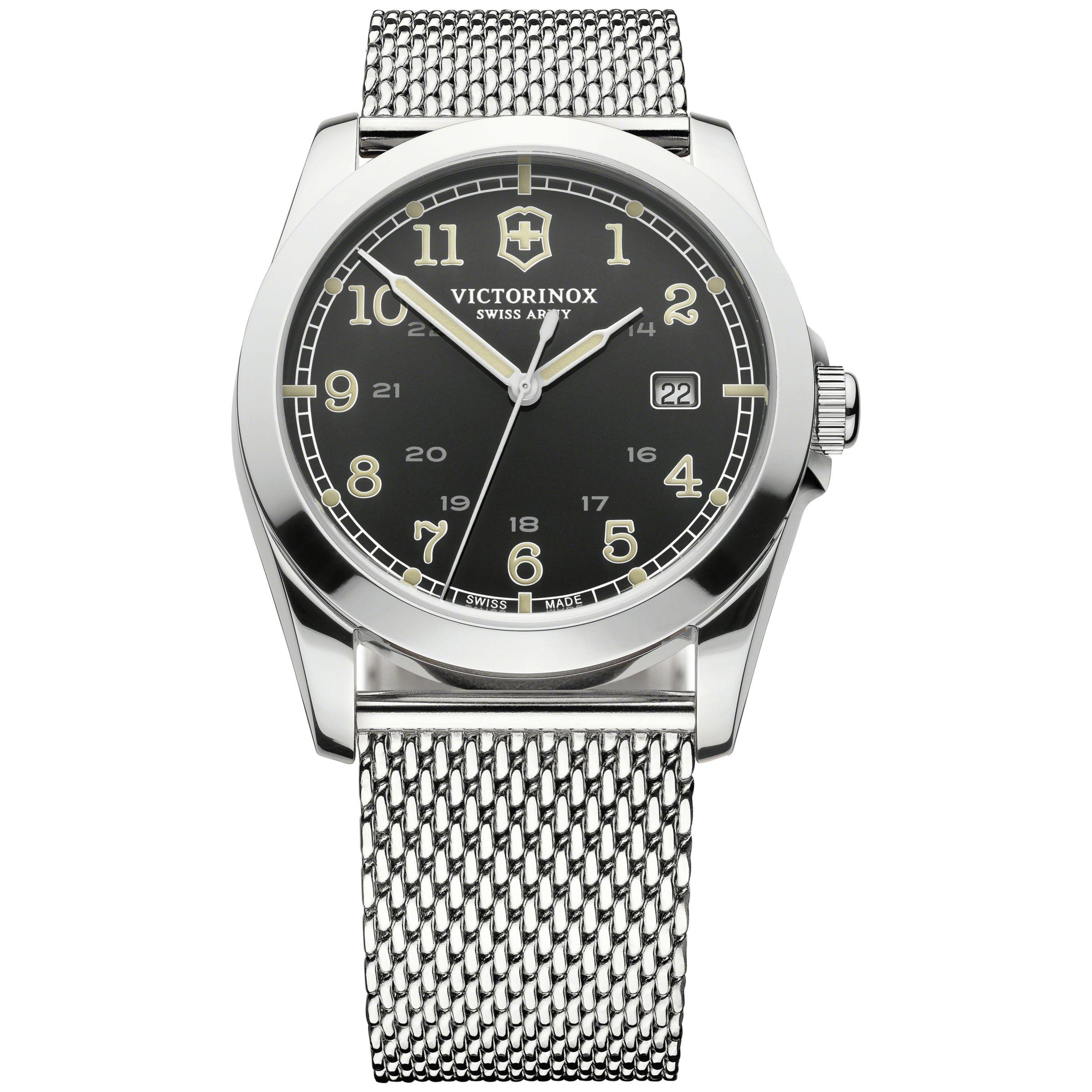 Victorinox Victorinox 241585 Men's Infantry Stainless Steel Mesh Bracelet Strap Watch, Silver/Black