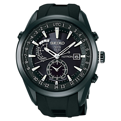 Buy Seiko SAST0011G Astron Men's Stainless Steel GPS Solar Watch, Black Online at johnlewis.com