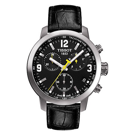 Buy Tissot T0554171605700 PRC2000 Men's Leather Strap Chronograph Watch, Black Online at johnlewis.com