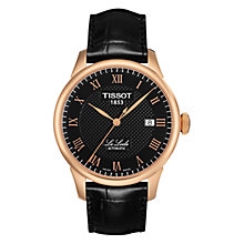 Buy Tissot T41542353 Men's Le Locle Automatic Leather Strap Watch, Black / Rose Gold Online at johnlewis.com