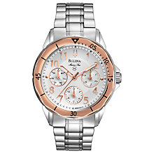 Buy Bulova 96N101 Women's Marine Star Marine Star Watch, Silver / Rose Gold Online at johnlewis.com