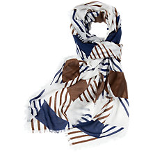Buy Aquascutum Oversized Checked Scarf, Vicuna Online at johnlewis.com